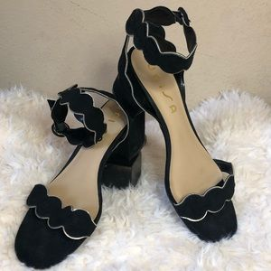 Unisa Black scalloped heel short block heel